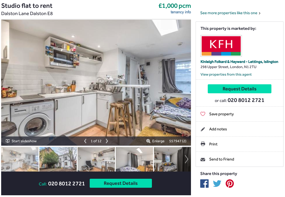 Listing of a studio to rent on Rightmove