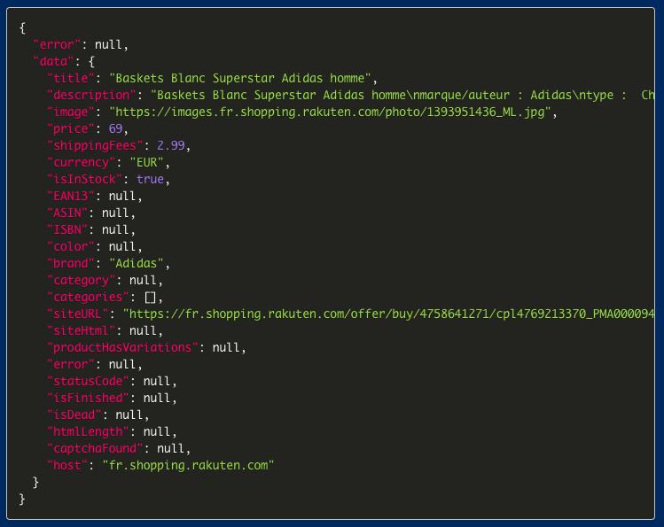Parsed data from Rakuten retrieved with ScrapingBot