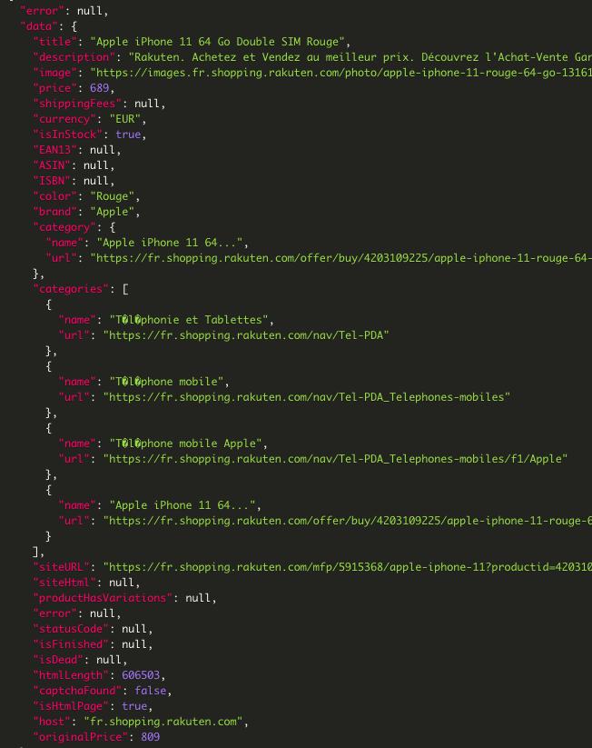 Scraping Bot - Data retrieved from Rakuten listing