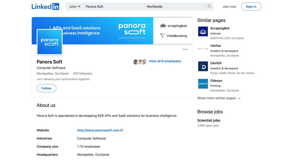 screenshot panorasoft linkedin profile company
