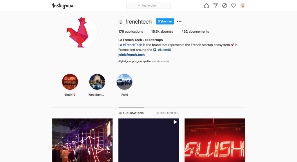 Screenshot of the French Tech Instagram Profile