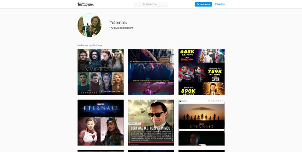 Instagram #Eternals Hashtag screenshot