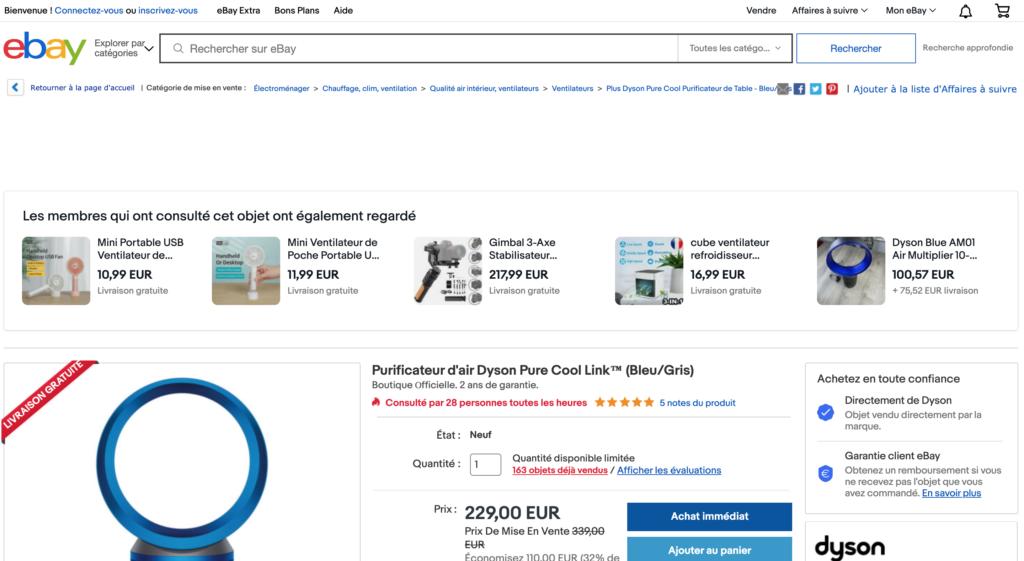 Screenshot of en eBay product page