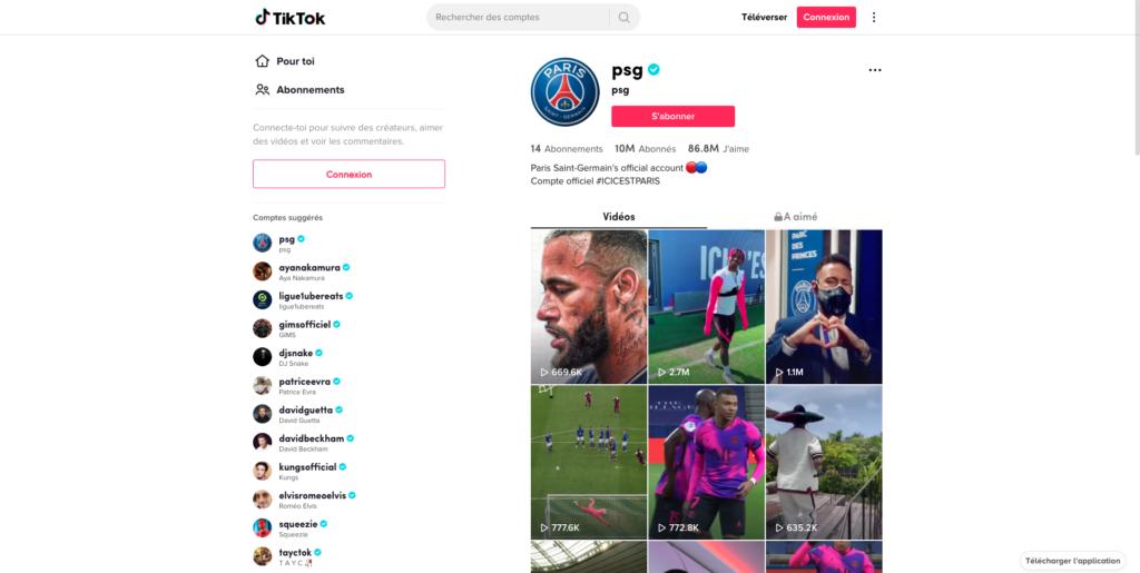 Screenshot of TikTok PSG soccer team profile page