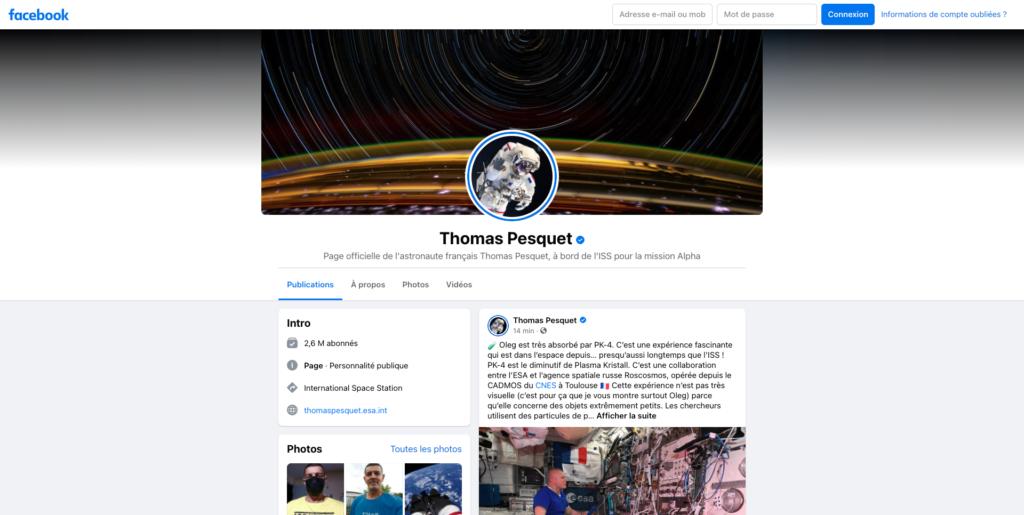 Screenshot of Thomas Pesquet profile Facebook profile page