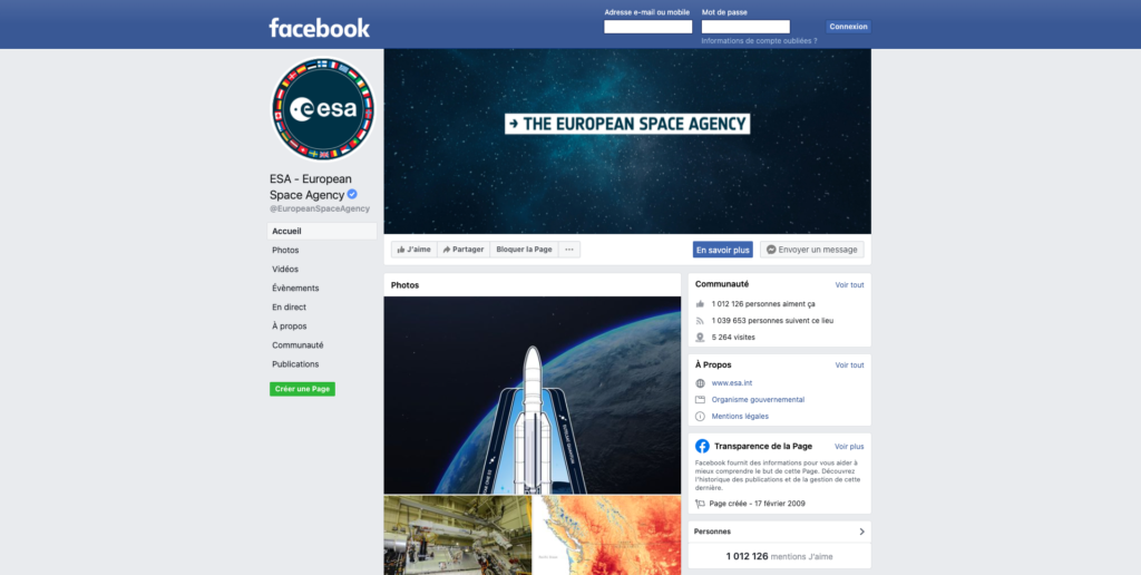 Screenshot of European Space Agency Facebook organization page